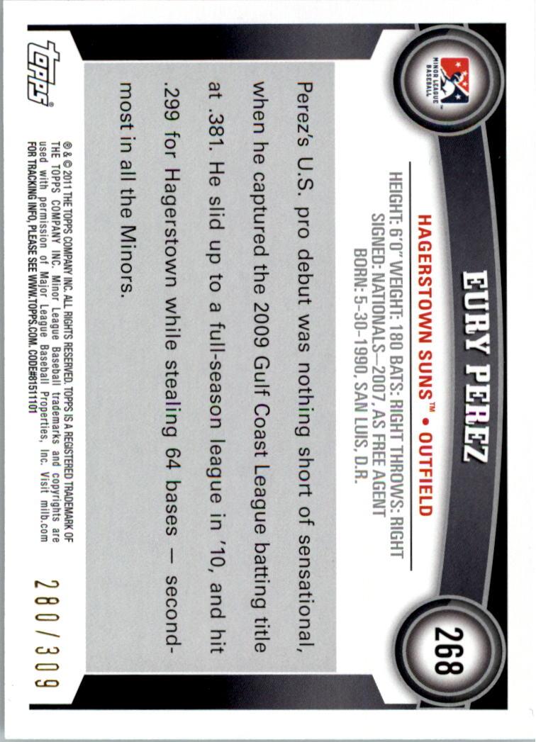 2011 Topps Pro Debut Blue #268 Eury Perez back image