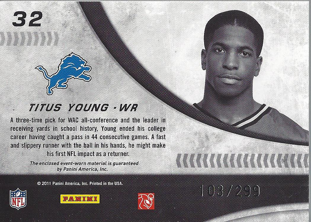 2011 Donruss Elite New Breed Jersey #32 Titus Young back image