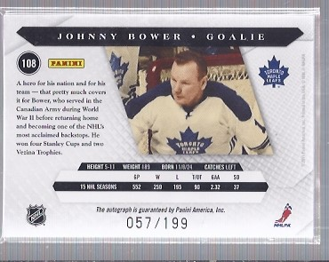 2010-11 Luxury Suite #108 Johnny Bower AU back image