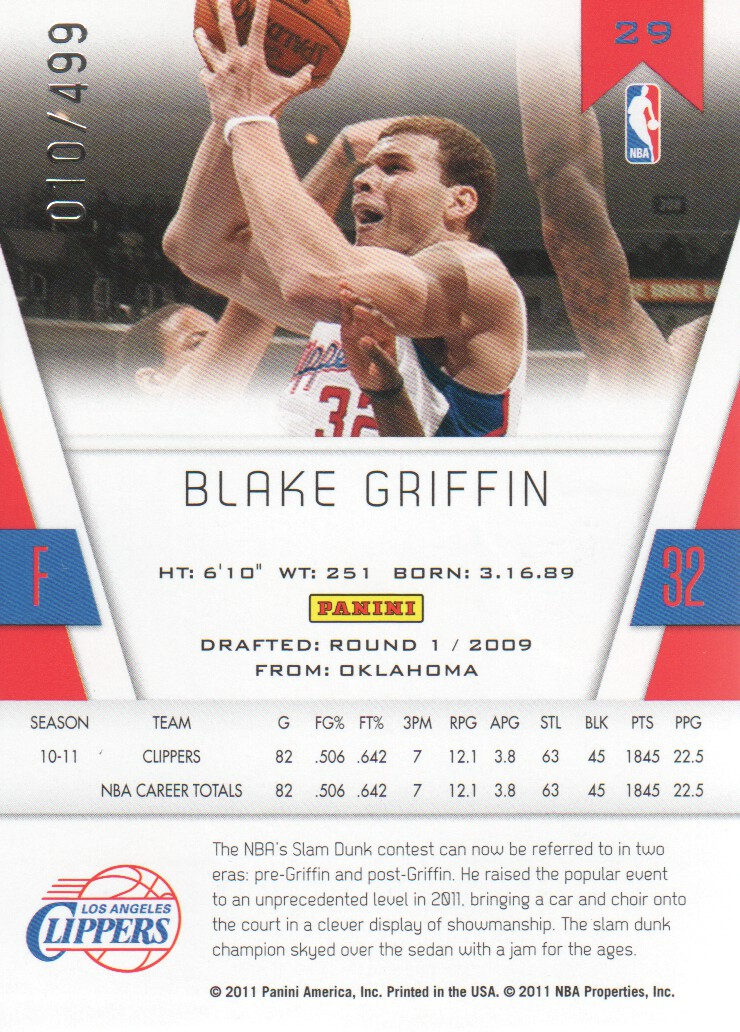2010-11 Totally Certified Red #29 Blake Griffin back image