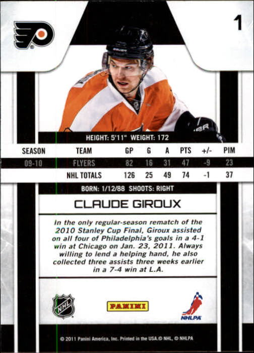 2010-11 Zenith #1 Claude Giroux back image