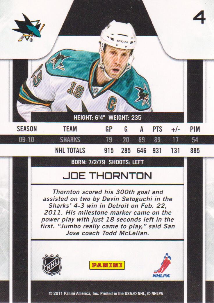 2010-11 Zenith #4 Joe Thornton back image