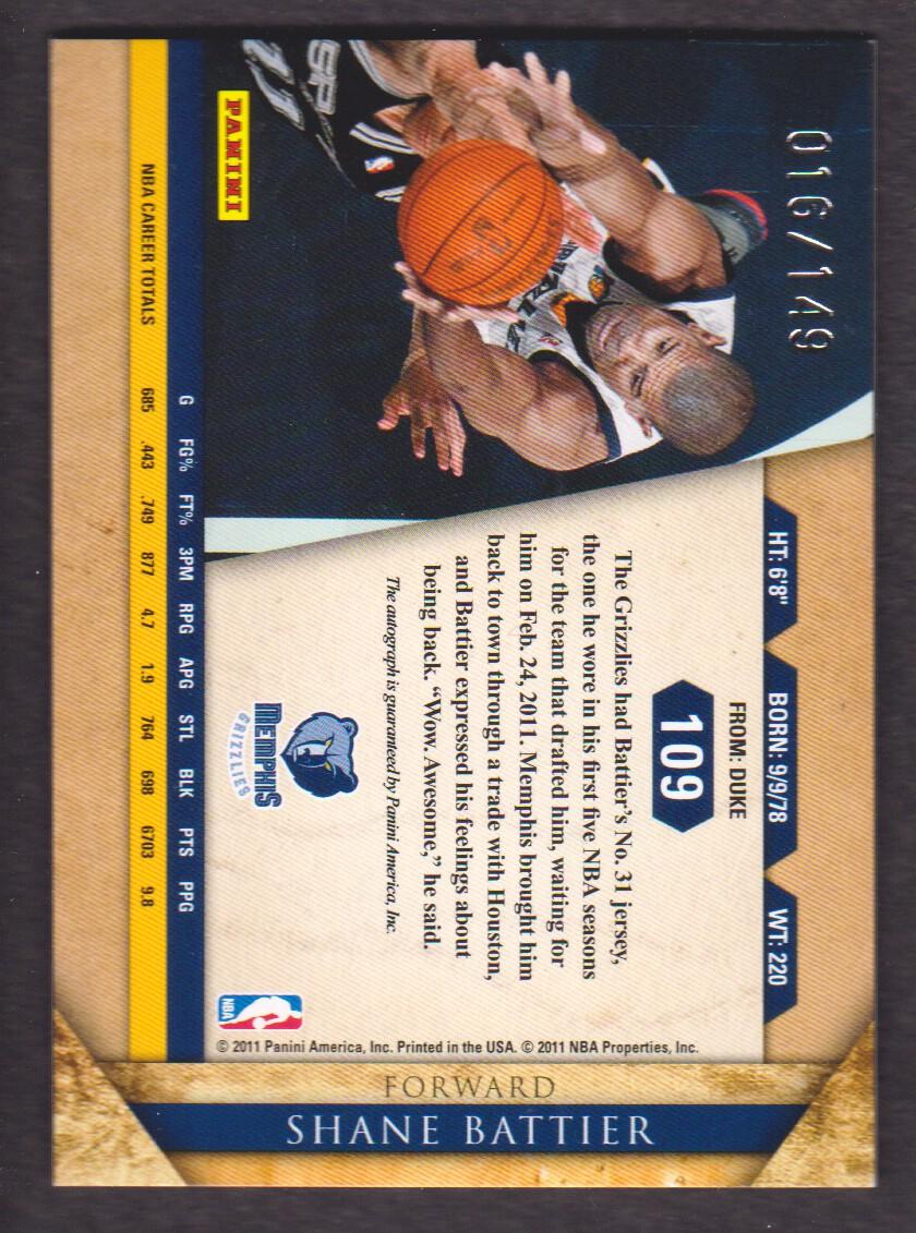 2010-11 Panini Gold Standard Signatures #109 Shane Battier/149 back image