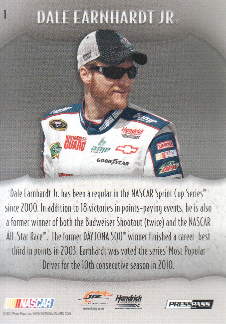 2011 Press Pass Showcase #1 Dale Earnhardt Jr back image