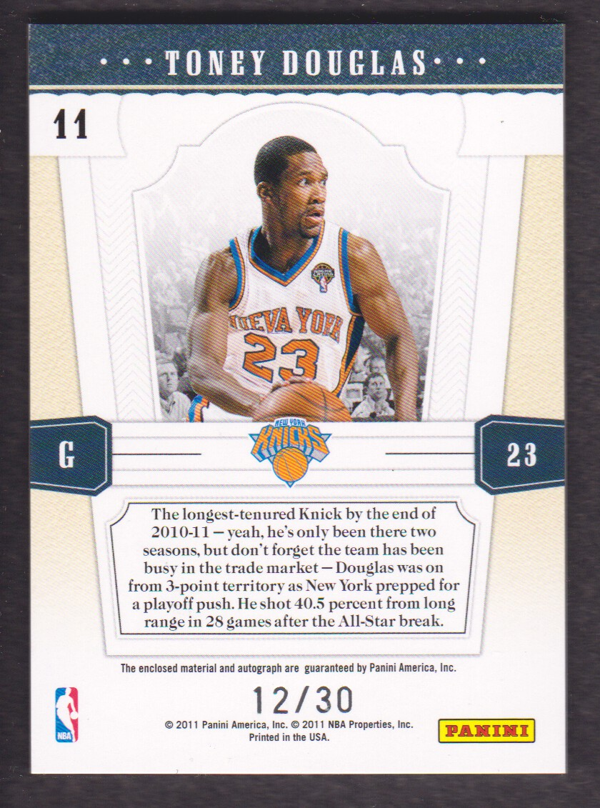 2010-11 Playoff National Treasures Timeline Materials Custom Names Signatures #11 Toney Douglas/30 back image