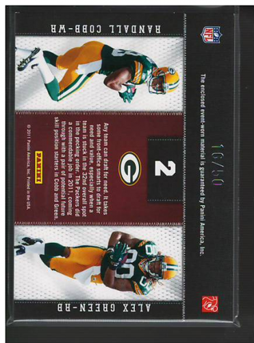 2011 Panini Threads Rookie Collection Materials Combo Prime #2 Randall Cobb/Alex Green back image