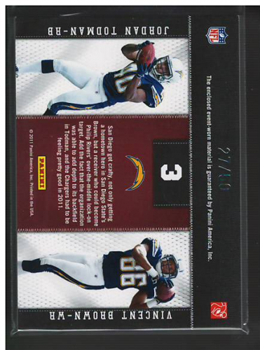 2011 Panini Threads Rookie Collection Materials Combo Prime #3 Jordan Todman/Vincent Brown back image