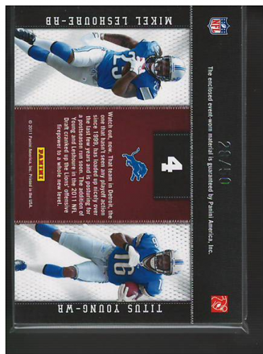 2011 Panini Threads Rookie Collection Materials Combo Prime #4 Mikel Leshoure/Titus Young back image