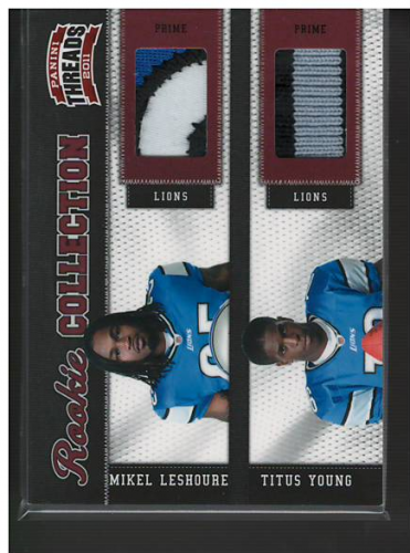 2011 Panini Threads Rookie Collection Materials Combo Prime #4 Mikel Leshoure/Titus Young