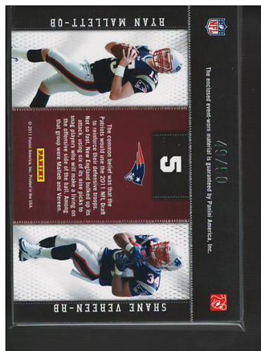 2011 Panini Threads Rookie Collection Materials Combo Prime #5 Ryan Mallett/Shane Vereen back image