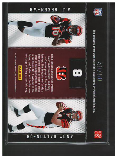 2011 Panini Threads Rookie Collection Materials Combo Prime #8 A.J. Green/Andy Dalton back image