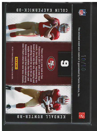 2011 Panini Threads Rookie Collection Materials Combo Prime #9 Colin Kaepernick/Kendall Hunter back image