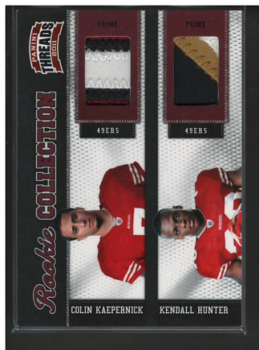 2011 Panini Threads Rookie Collection Materials Combo Prime #9 Colin Kaepernick/Kendall Hunter
