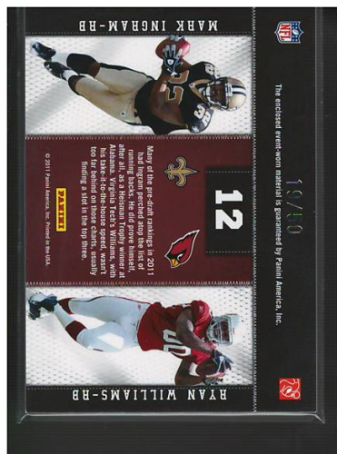 2011 Panini Threads Rookie Collection Materials Combo Prime #12 Mark Ingram/Ryan Williams back image