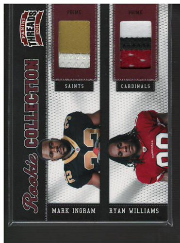2011 Panini Threads Rookie Collection Materials Combo Prime #12 Mark Ingram/Ryan Williams