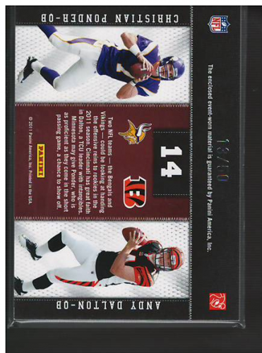 2011 Panini Threads Rookie Collection Materials Combo Prime #14 Christian Ponder/Andy Dalton back image