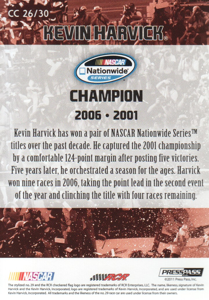 2011 Press Pass FanFare Championship Caliber #CC26 Kevin Harvick back image