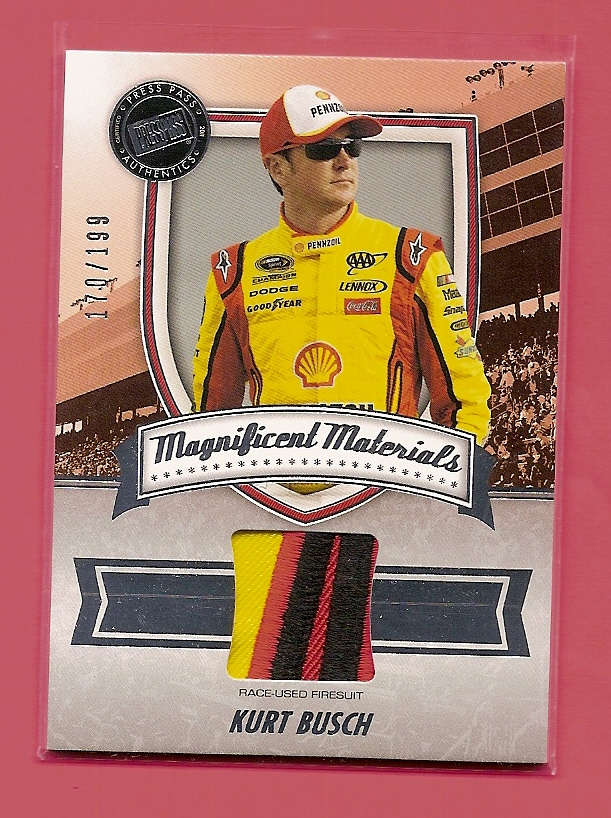 2011 Press Pass FanFare Magnificent Materials #MMKB Kurt Busch/199