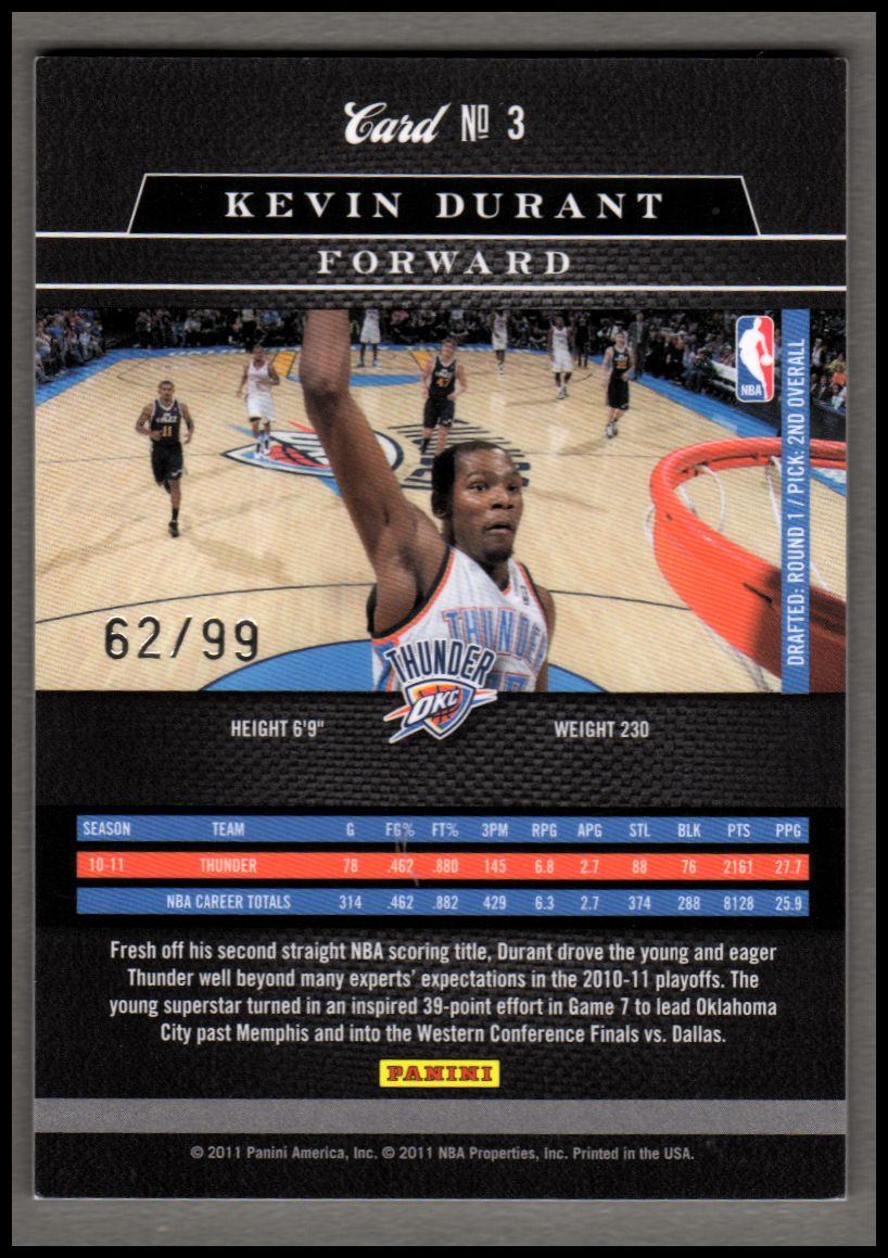 2010-11 Elite Black Box #3 Kevin Durant back image