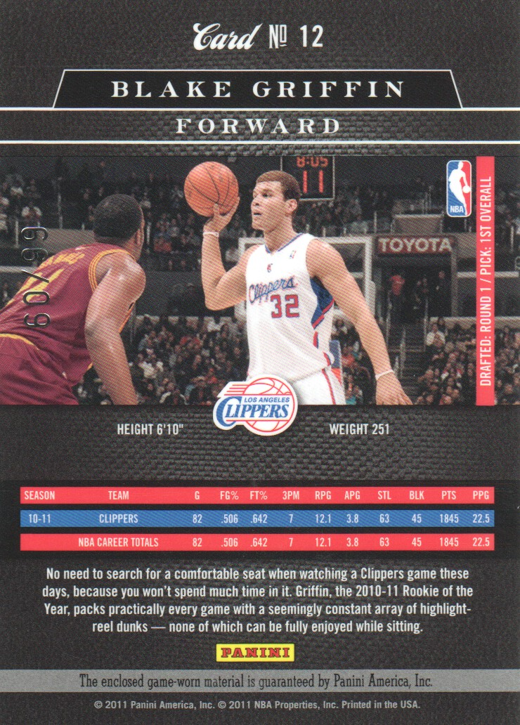 2010-11 Elite Black Box Materials #12 Blake Griffin/99 back image