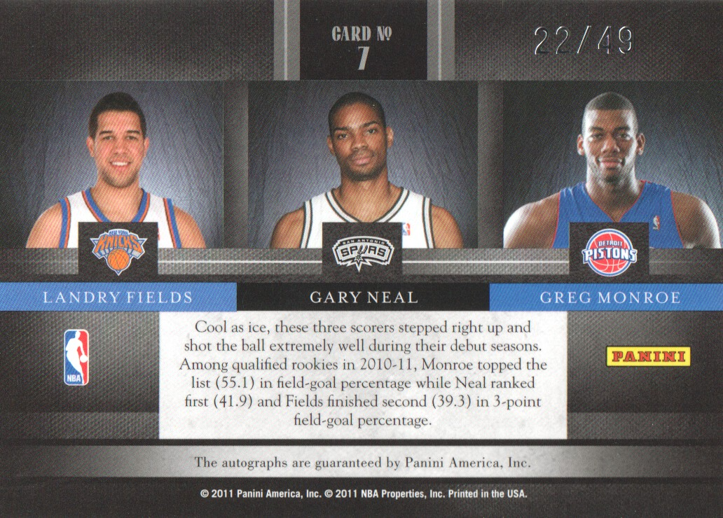 2010-11 Elite Black Box The Rookies Signatures Triple #7 Landry Fields/Gary Neal/Greg Monroe back image