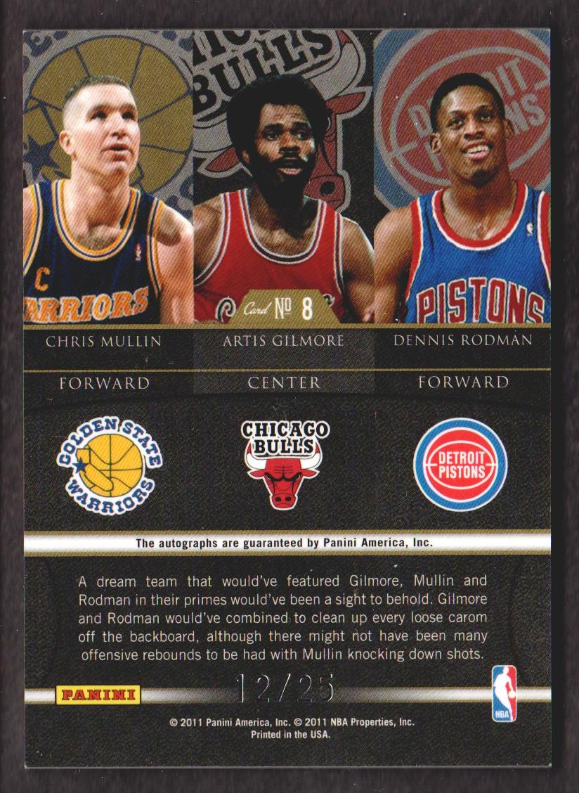 2010-11 Elite Black Box Hall of Fame Signatures #8 Chris Mullin/25/Artis Gilmore/Dennis Rodman back image