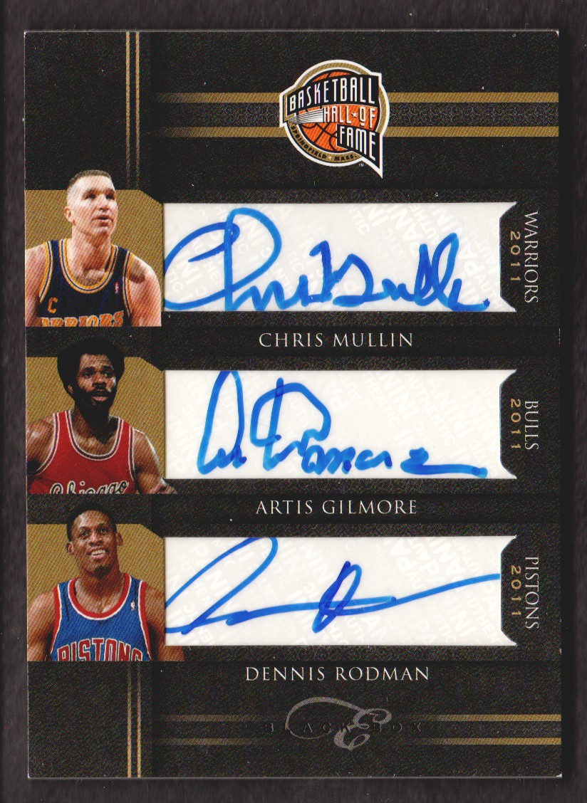 2010-11 Elite Black Box Hall of Fame Signatures #8 Chris Mullin/25/Artis Gilmore/Dennis Rodman