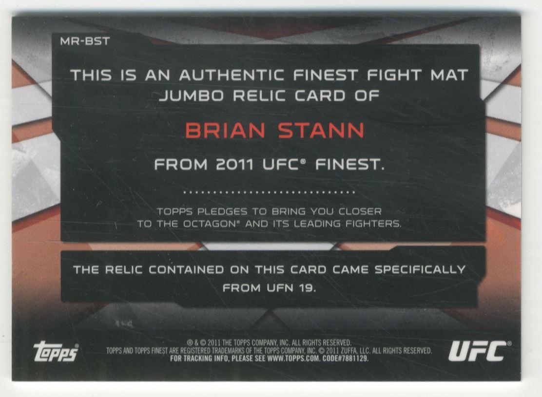 2011 Finest UFC Jumbo Fight Mat Relics #MRBS Brian Stann back image