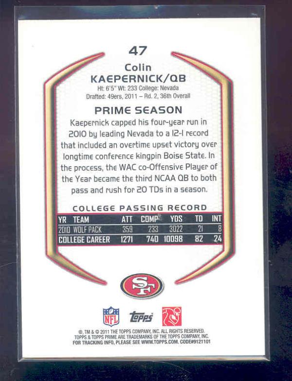 2011 Topps Prime Purple #47 Colin Kaepernick back image