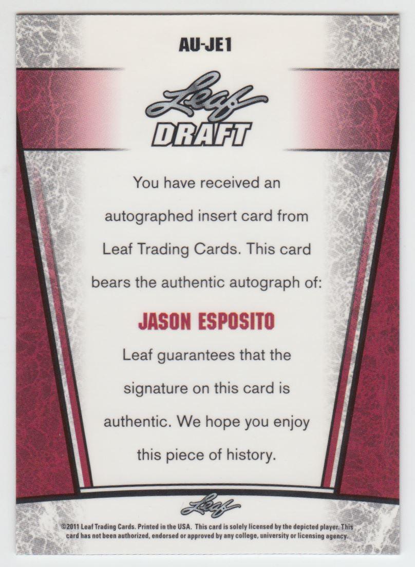 2011 Leaf Metal Draft #JE1 Jason Esposito back image