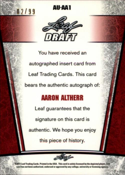 2011 Leaf Metal Draft Prismatic #AA1 Aaron Altherr back image
