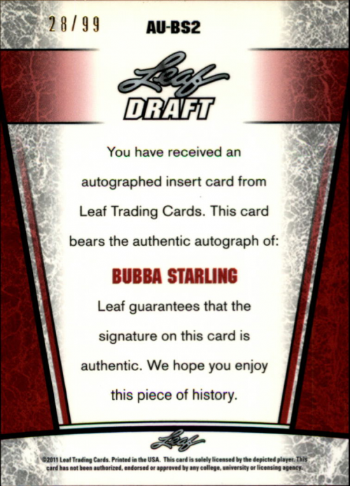 2011 Leaf Metal Draft Prismatic #BS2 Bubba Starling back image