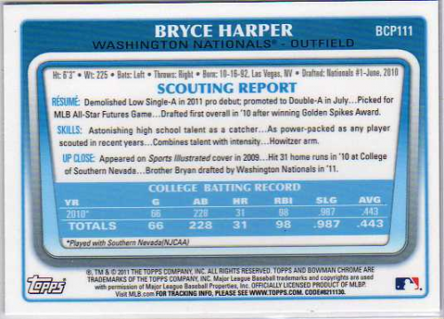 2011 Bowman Chrome Prospects #BCP111 Bryce Harper back image