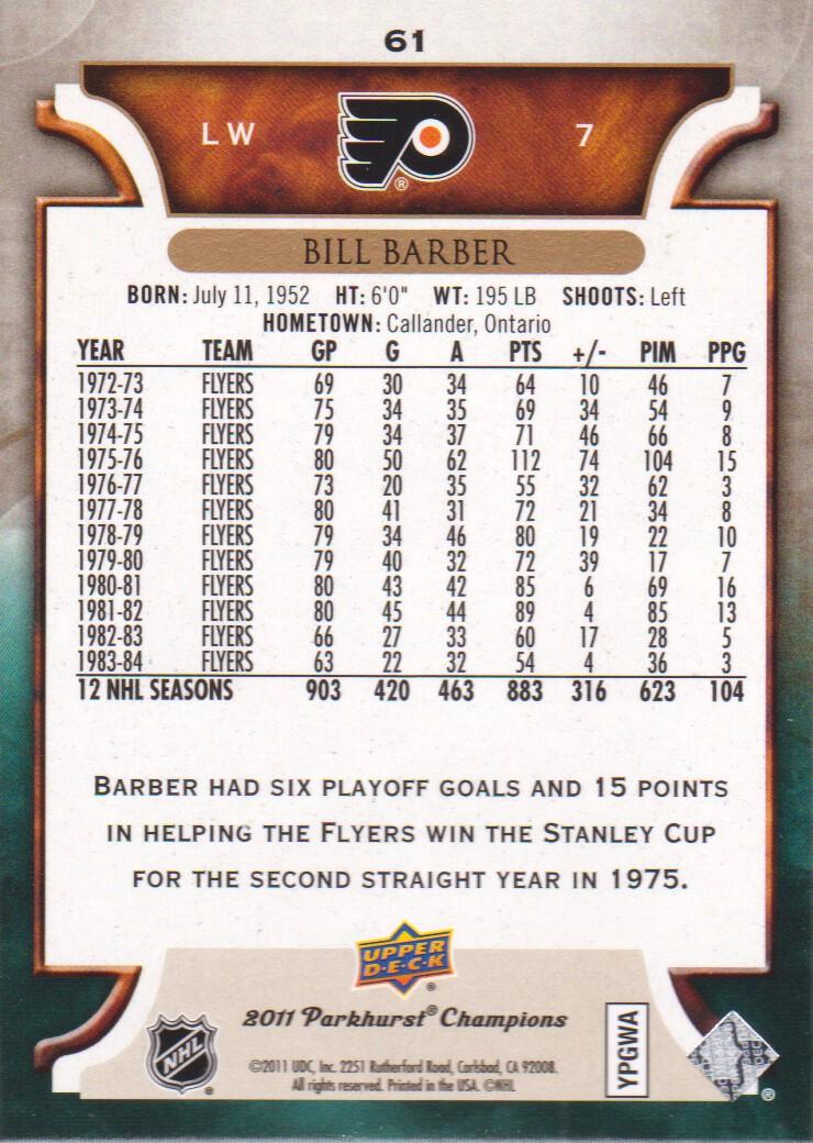 2011-12 Parkhurst Champions #61 Bill Barber back image