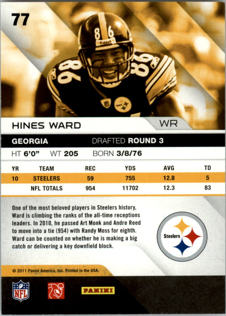 2011 Absolute Memorabilia Spectrum Red Retail #77 Hines Ward back image