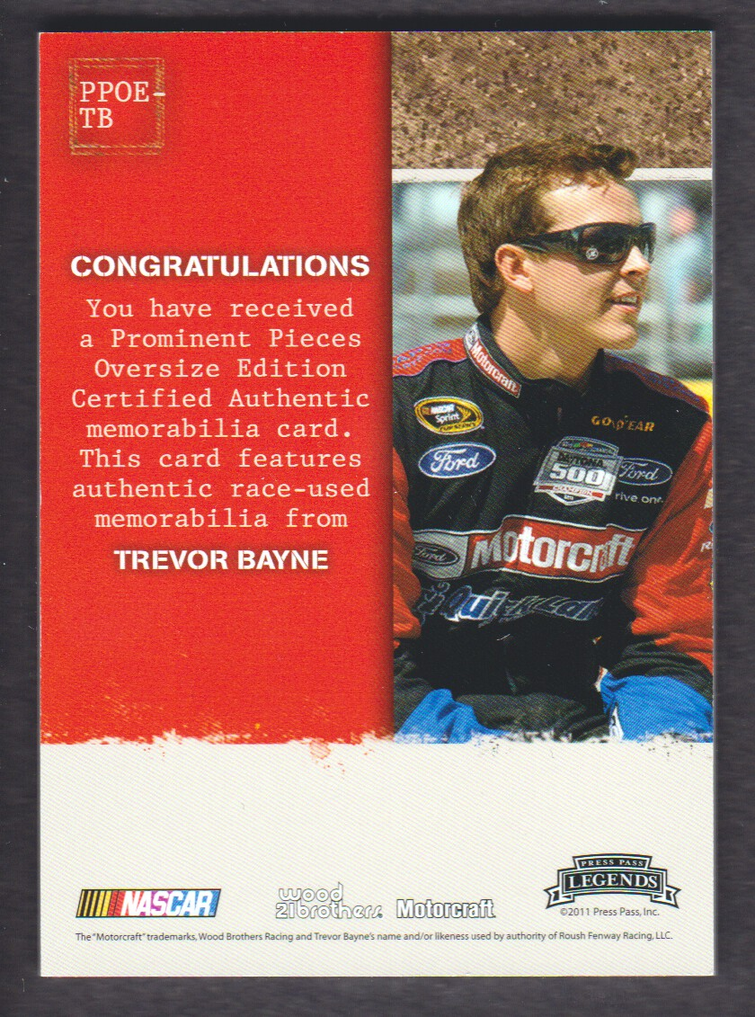 2011 Press Pass Legends Prominent Pieces Oversized Firesuit #PPOETB Trevor Bayne back image