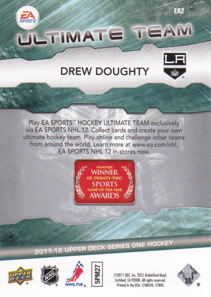 2011-12 Upper Deck EA Ultimate Team #EA2 Drew Doughty back image