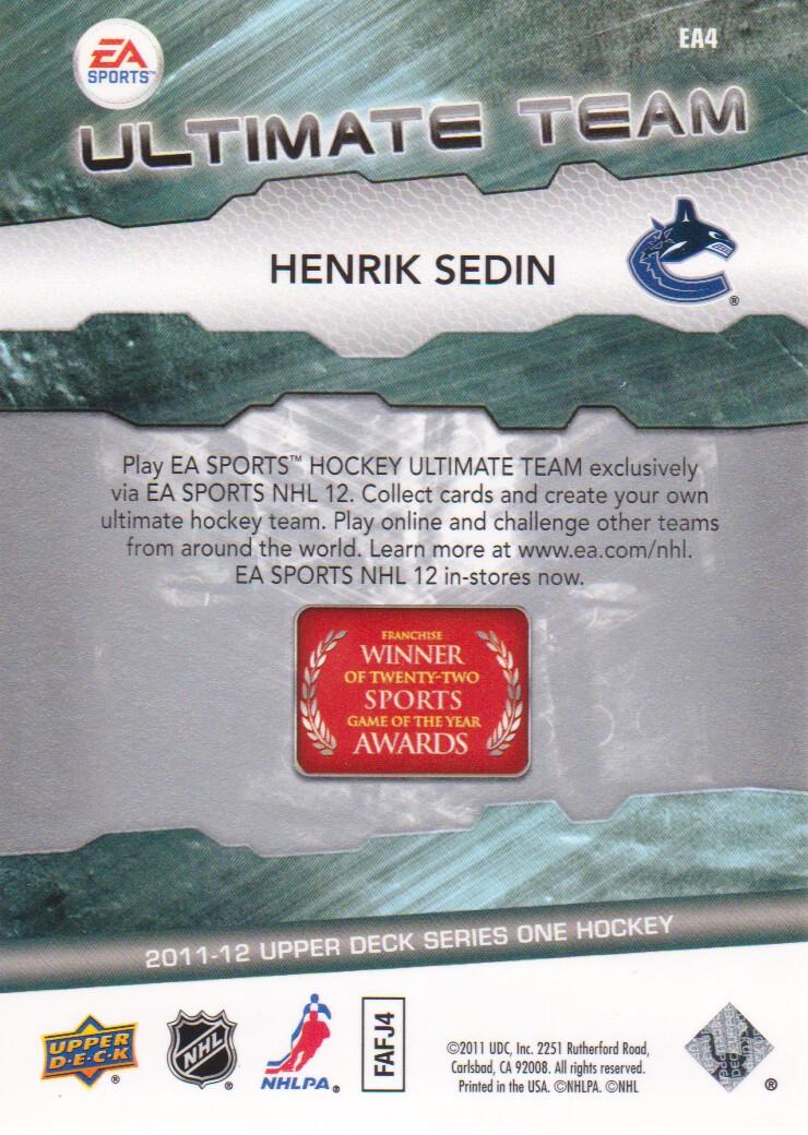 2011-12 Upper Deck EA Ultimate Team #EA4 Henrik Sedin back image