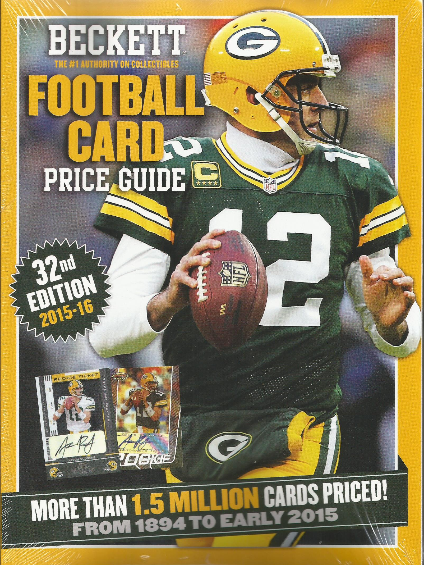 2015 2016 Beckett Annual Football Card Price Guide #32 (Aaron Rodgers on cover) (Brand new as of Sept 2015) (Cover Price $39.95 > SALE PRICE $37.95)
