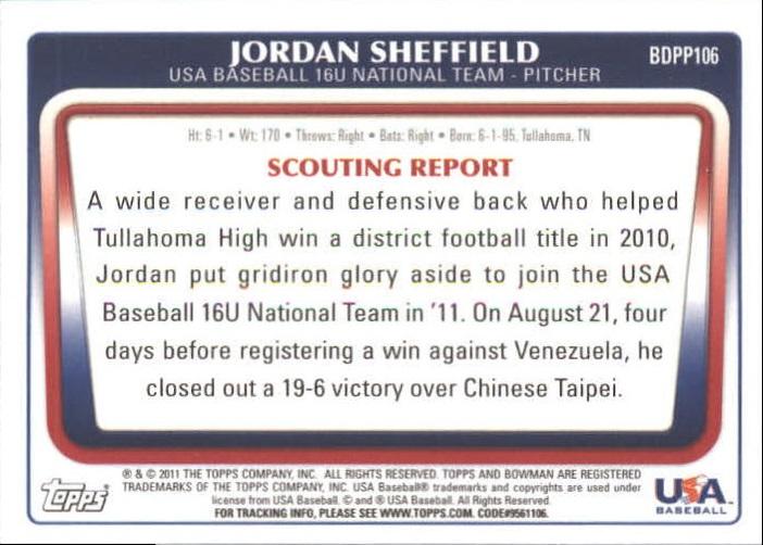 2011 Bowman Draft Prospects Gold #BDPP106 Jordan Sheffield back image