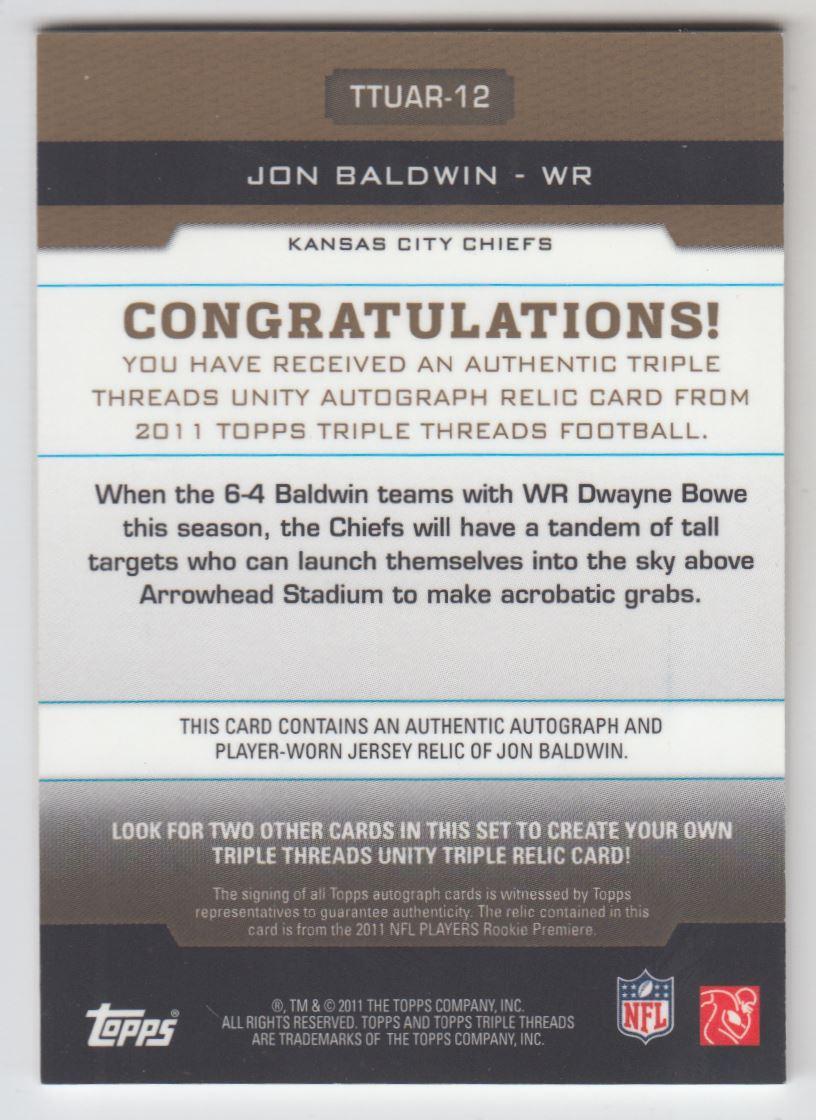 2011 Topps Triple Threads Autographed Unity Relics Sepia #TTUAR12 Jon Baldwin back image