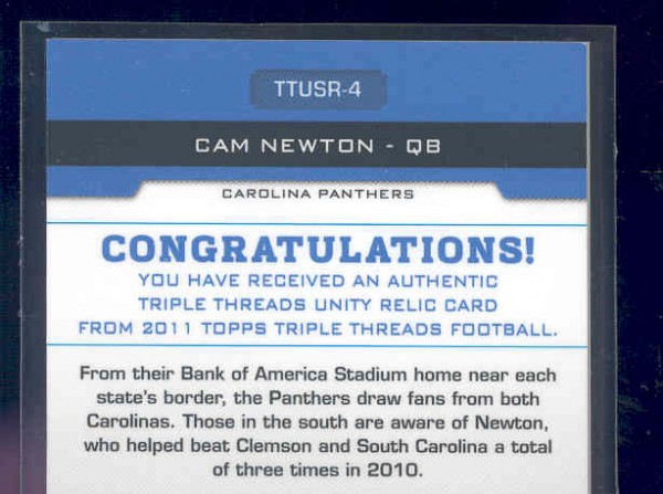 2011 Topps Triple Threads Unity Relics #TTUSR4 Cam Newton back image