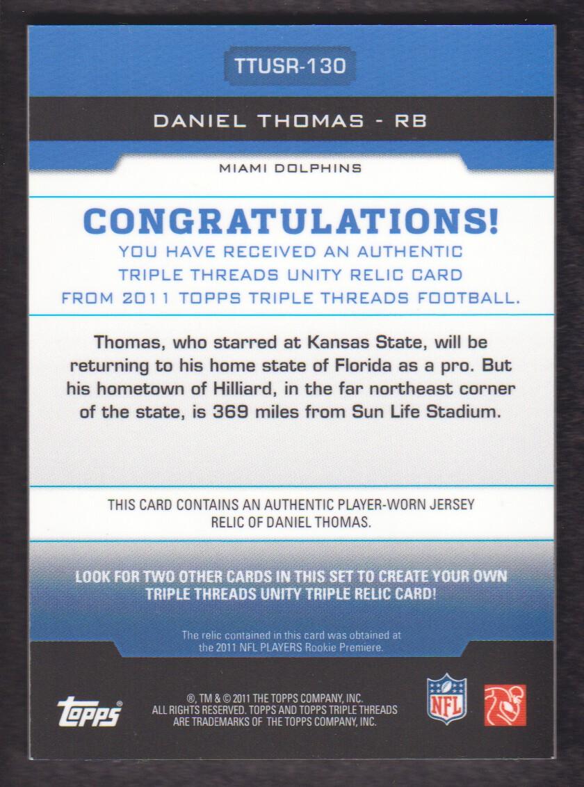 2011 Topps Triple Threads Unity Relics #TTUSR130 Daniel Thomas back image