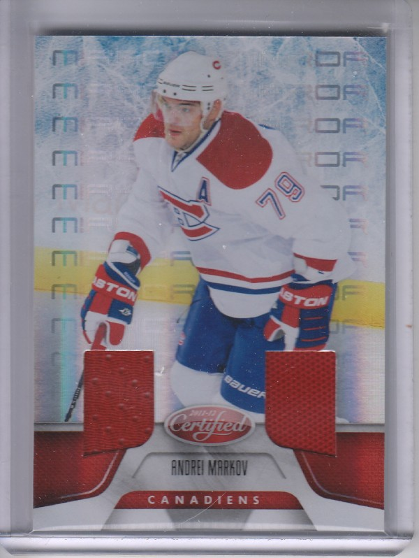 2011-12 Certified Mirror Red Materials Dual #18 Andrei Markov/150
