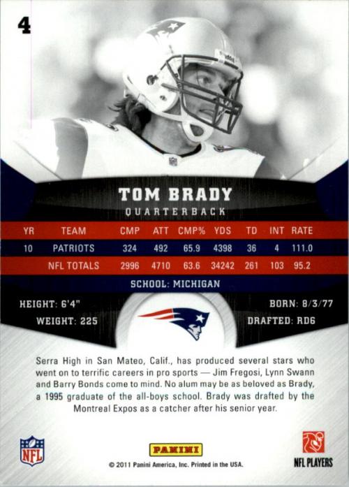 2011 Panini Gridiron Gear #4 Tom Brady back image