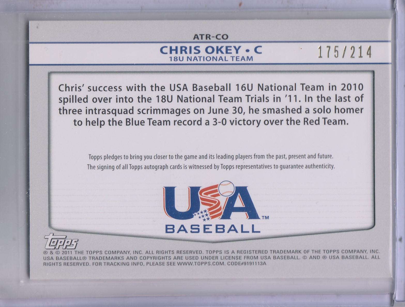 2011 USA Baseball Triple Jersey Autographs #CO Chris Okey/214 back image