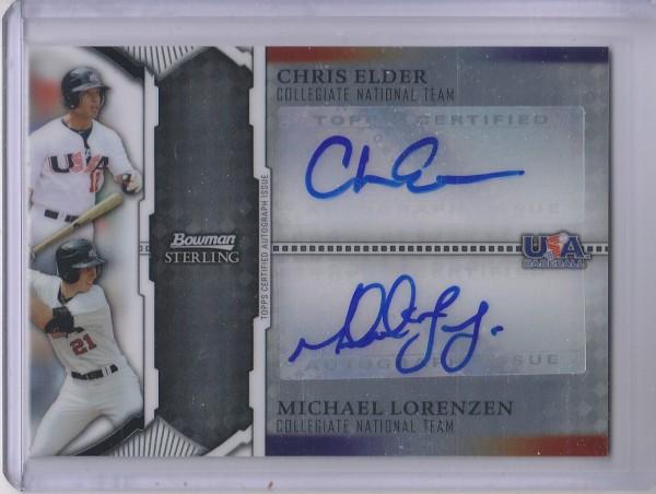 2011 Bowman Sterling Dual Autographs #EL Chris Elder/Michael Lorenzen