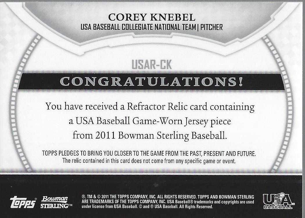 2011 Bowman Sterling USA Baseball Relics #CK Corey Knebel back image
