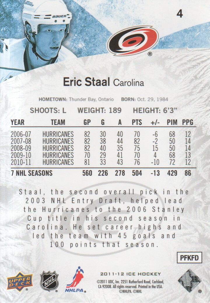 2011-12 Upper Deck Ice #4 Eric Staal back image