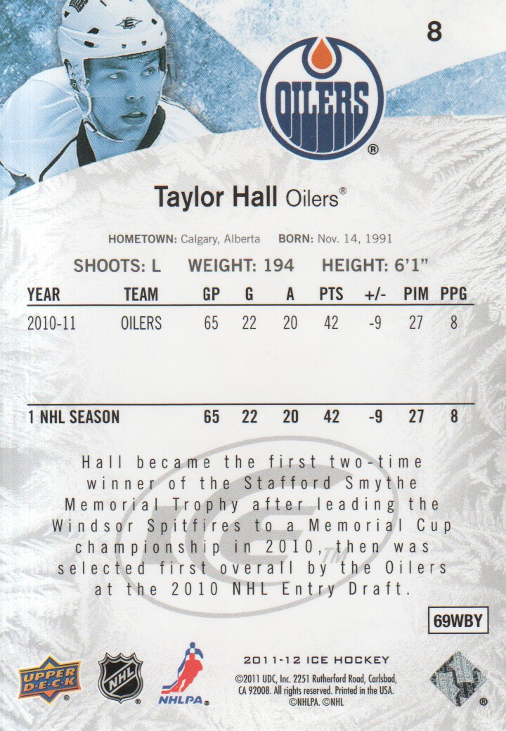 2011-12 Upper Deck Ice #8 Taylor Hall back image